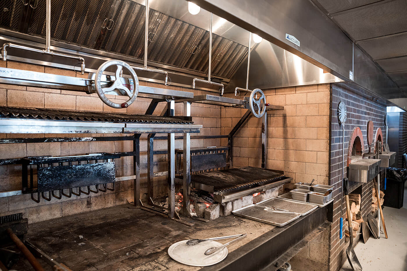 Hinterland Brewery's kitchen stove, with Accurex Kitchen Ventilation Systems