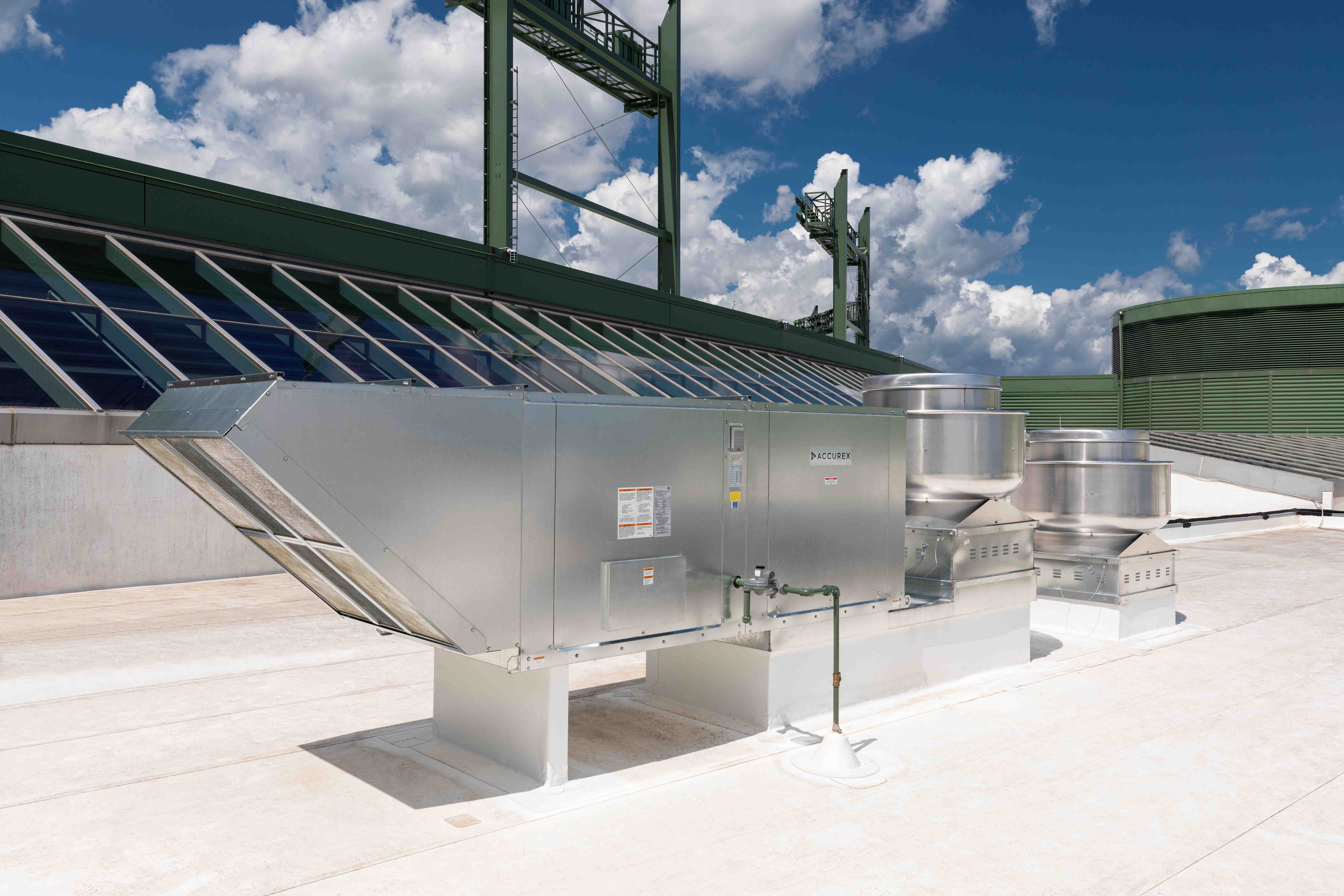 Accurex Make-Up Air Unit and Exhaust Fan Rooftop View