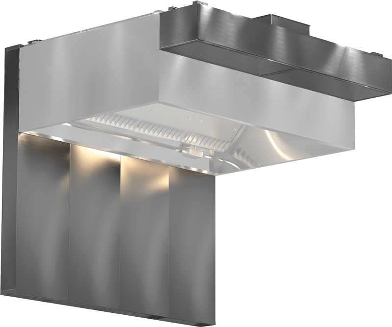 Models XGEW and GGEW Exhaust Only Wall Canopy Hood Back Supply Plenum Air Curtain Supply Plenum Product Rendering