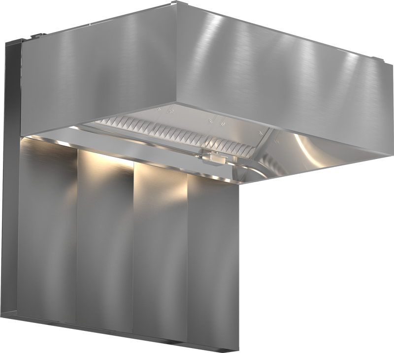 Models XGEW and GGEW Back Supply Plenum Exhaust Only Wall Canopy Hood Blockout Rendering